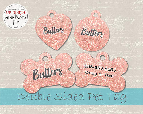 Pink Glitter Sparkly Dog Tag - Personalized Dog Name Tag