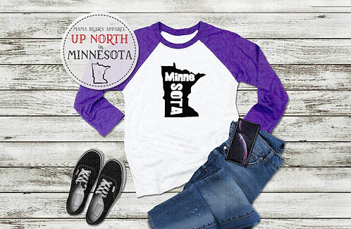 MinneSOTA with State 3/4 Sleeves Raglan