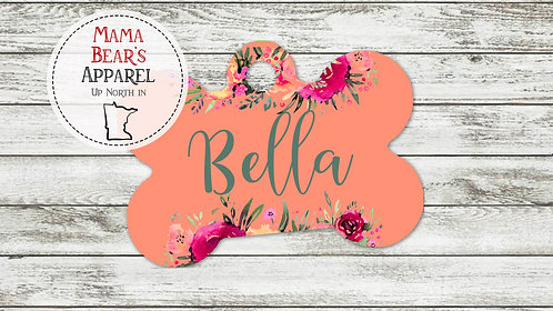 Watercolor Flowers with Teal Name - Personalized Dog Name Tag