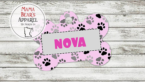 Pink Paws - Personalized Dog Name Tag