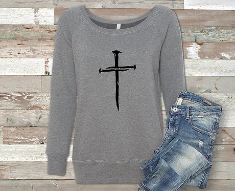 Christian Cross Made of Nails Women's Sweatshirt
