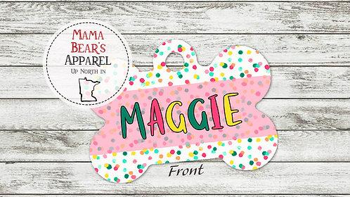 Polka Dots - Personalized Dog Name Tag