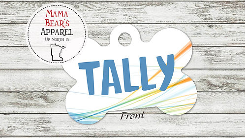 Abstract with Blue Name - Personalized Dog Name Tag