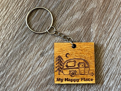 My Happy Place Camping Keychain - Wooden - Laser Engraved