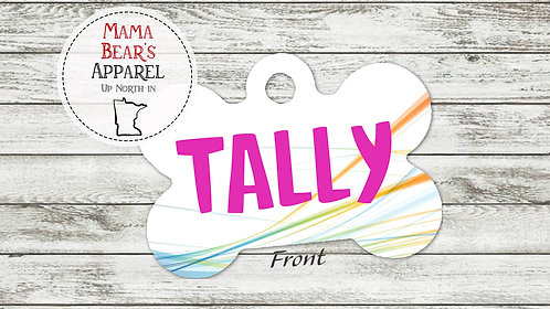 Abstract with Pink Name - Personalized Dog Name Tag