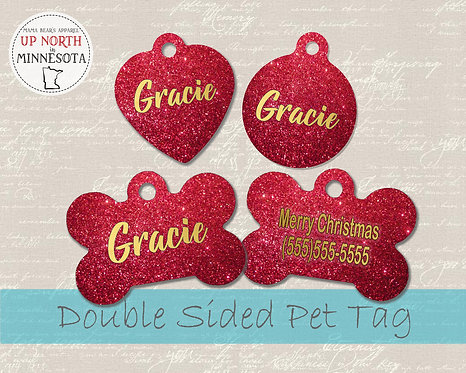 Red Christmas Glitter Dog Tag - Personalized Dog Name Tag