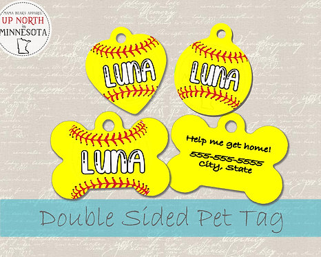 Softball - Personalized Dog ID Tag
