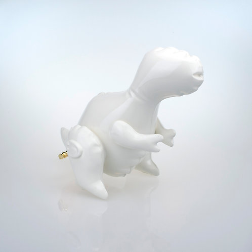 "Brett Kern - ""Small White Inflatable T-Rex"" (with gold plug)"