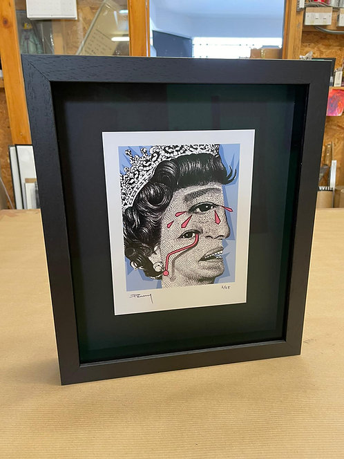 """Penny - """"The Weeping Woman - Blue"""" Framed in black"""