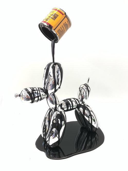 "Joe Suzuki - ""Happy Accident series - Silver and Black Balloon Dog"""