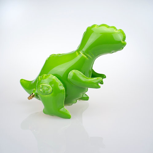 "Brett Kern - ""Small Green Inflatable T-Rex"" (with gold plug)"