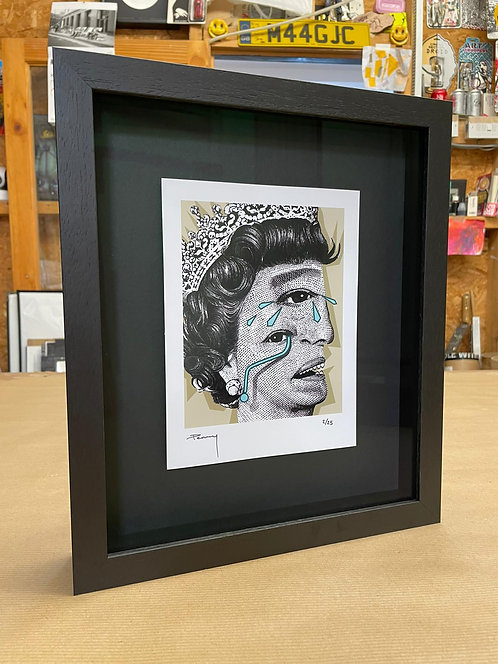 """Penny - """"The Weeping Woman - Green"""" Framed in Black"""