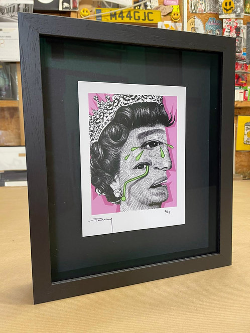 """Penny - """"The Weeping Woman - Pink"""" Framed in Black"""