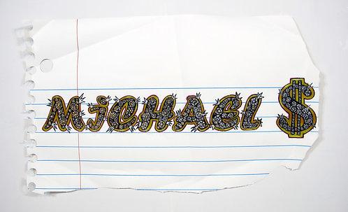 "Michael Scoggins - ""Bling Drawing #1 (Michael $)"""