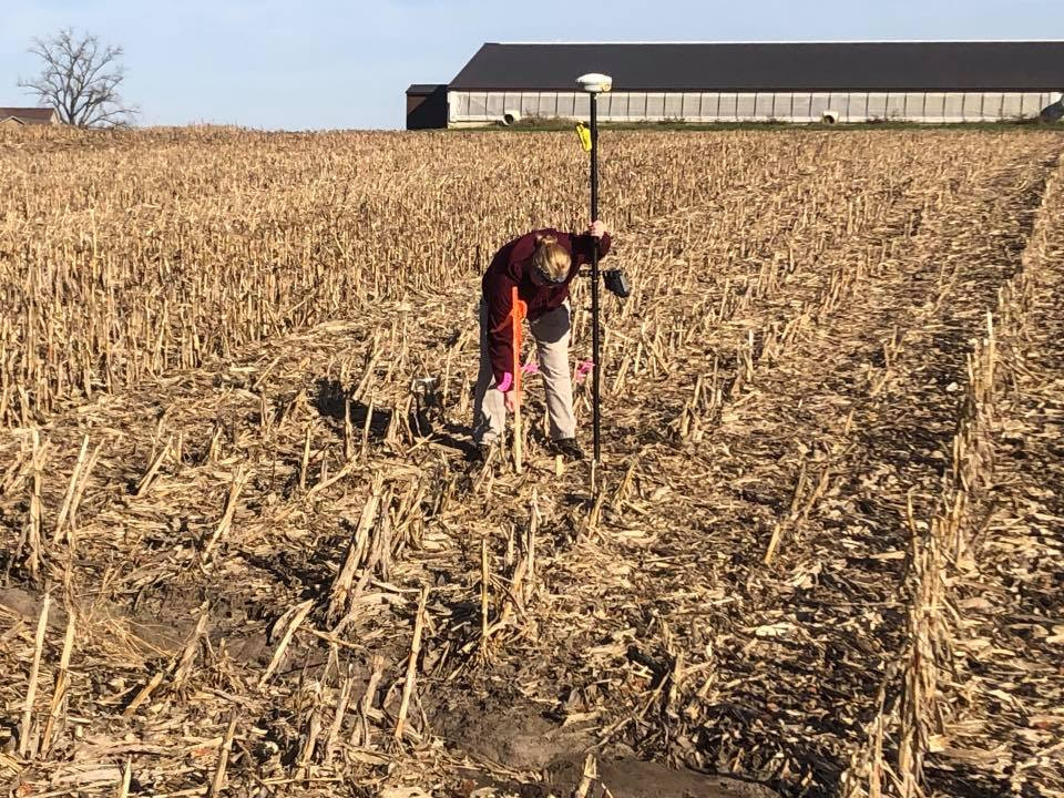 Janelle placing a stake.
