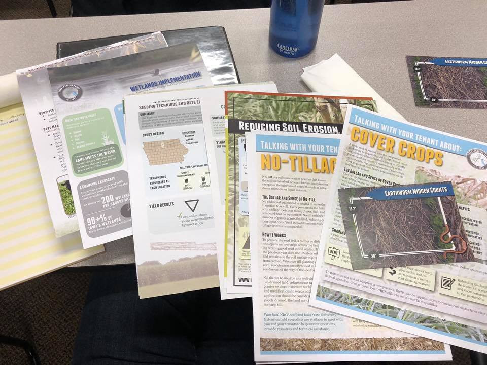 Educational materials from a Cover Crop and Wetland field day put on by Iowa Learning Farms.