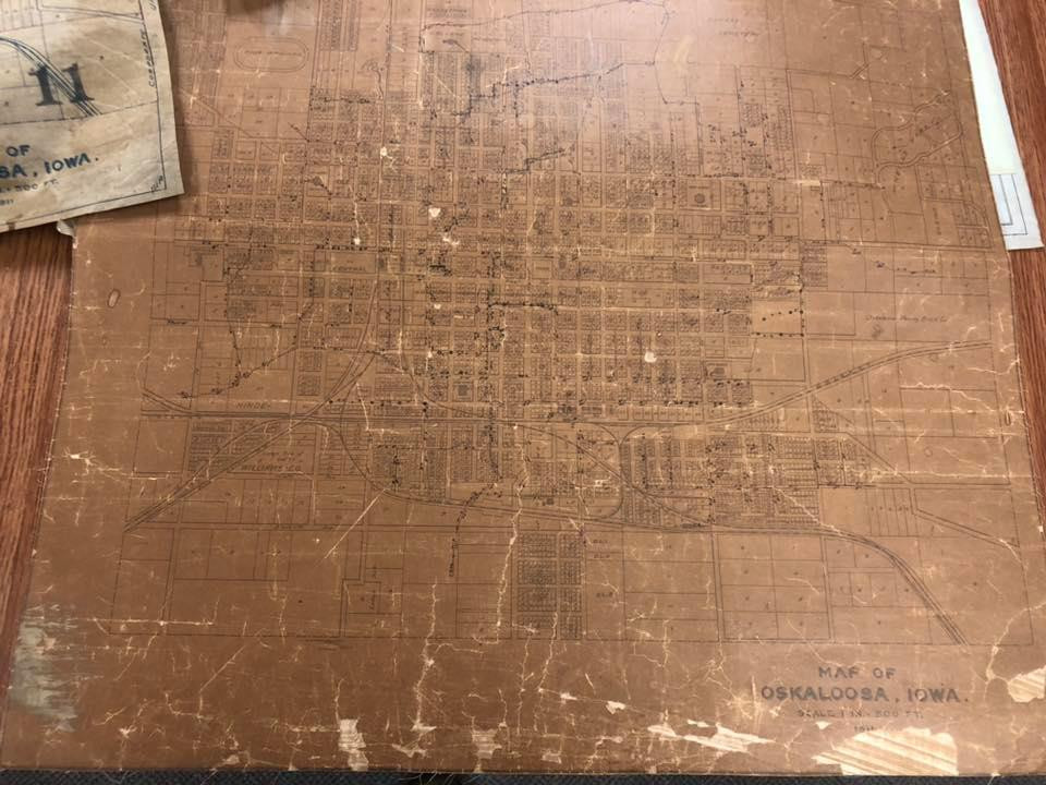 Map of Oskaloosa on leather from 1911 found by Green Iowa members while sorting maps for the City Department.