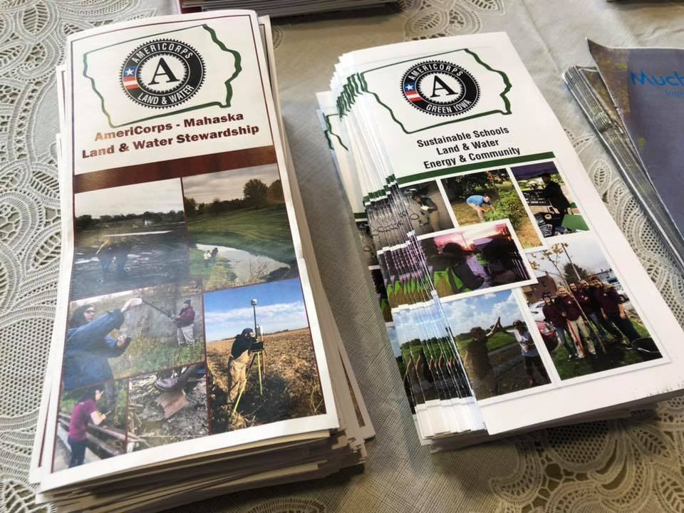 AmeriCorps brochures layed out at an event hosted by Mahaska SWCD.