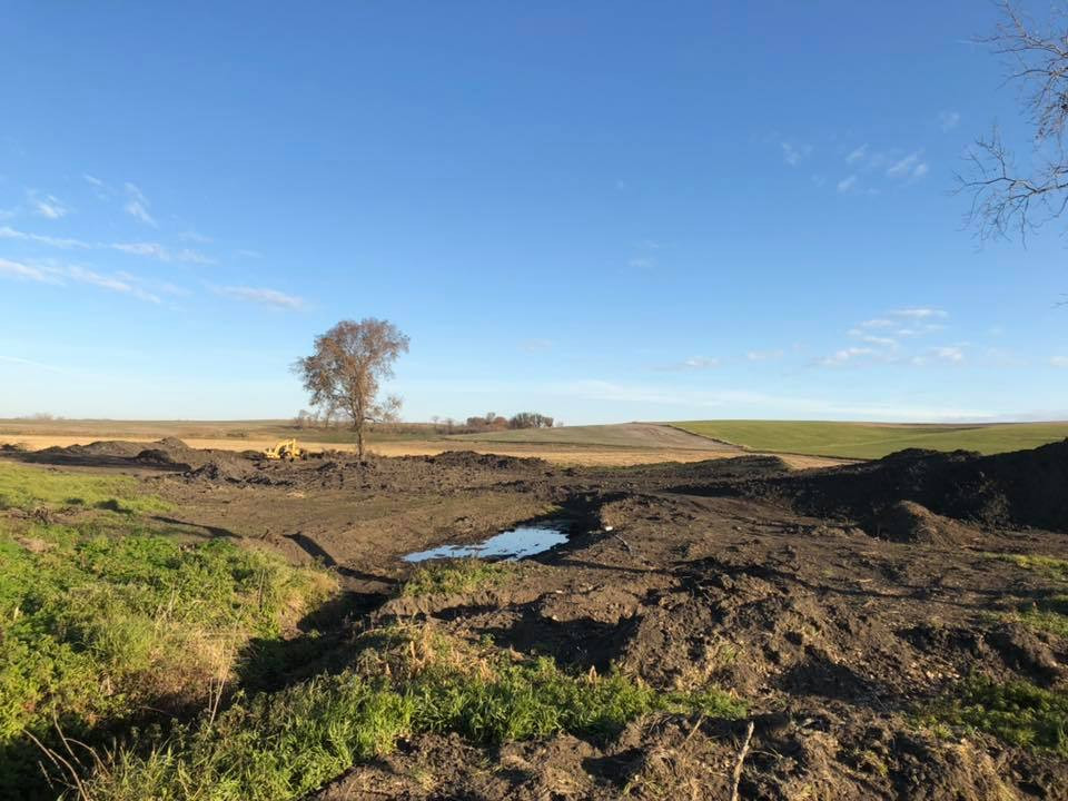 Work done to create a wetland, funded by Mahaska SWCD.