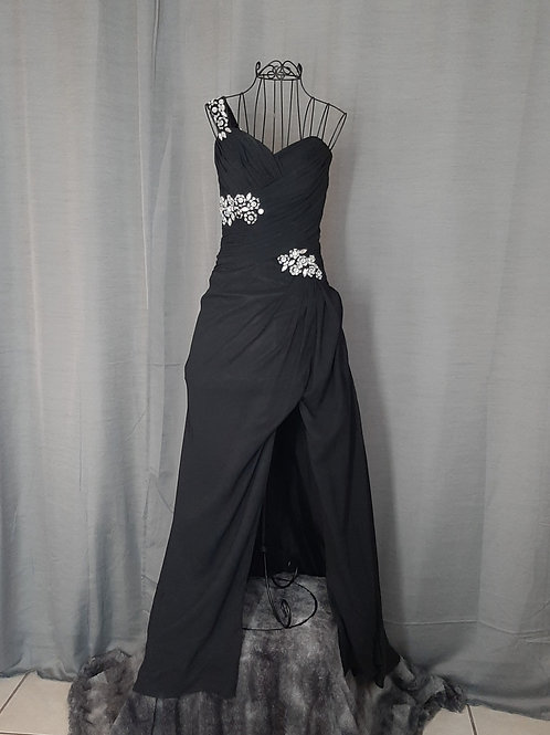 Onyx- One Shoulder Evening Gown