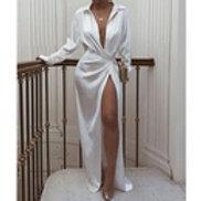 Lace up Slit Long Sleeved Dress