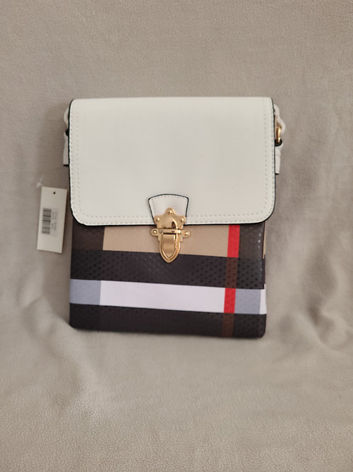 Handbag in Stripes with White Flap