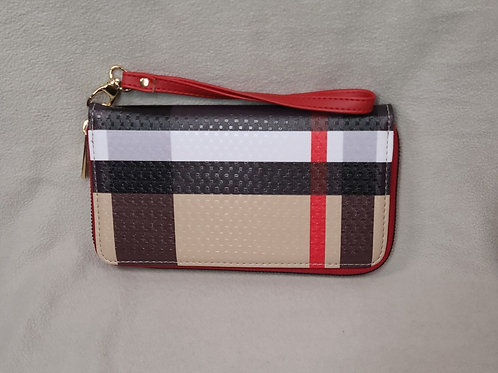 Tartan Striped Wallet Red with Lace