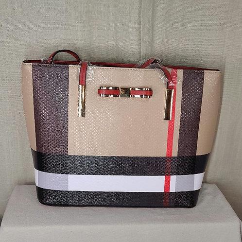 Tartan Striped Handbag Red with Lace