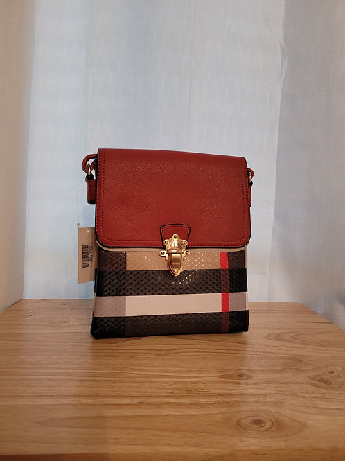 Handbag in Stripes with Red Flap