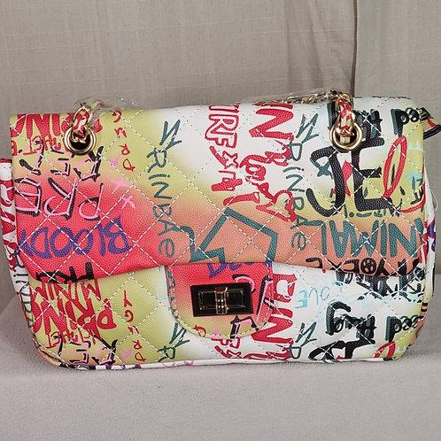 Graffiti Quilted Messenger Bag White D