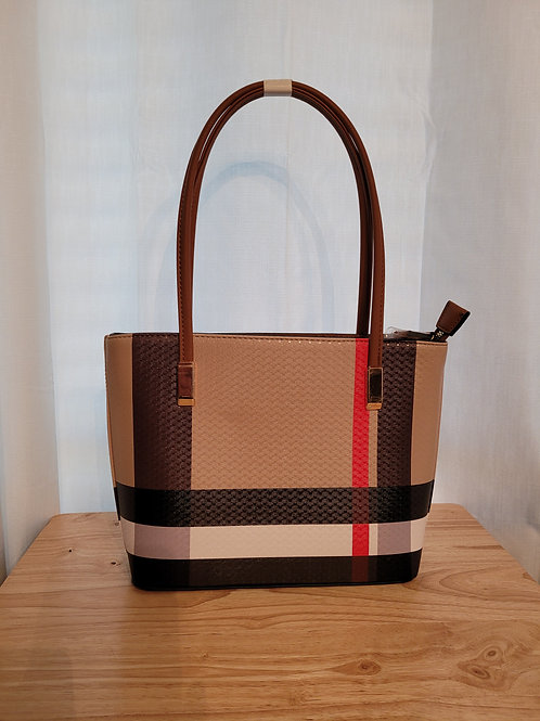Tartan Striped Handbag Tan Large