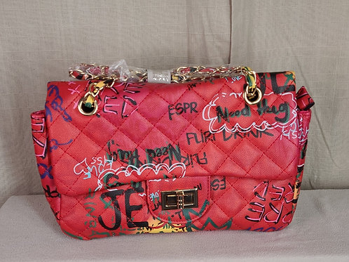 Graffiti Quilted Messenger Bag Red