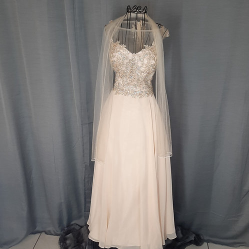 Citrine- Sleeveless Beaded Bodice Formal Gown