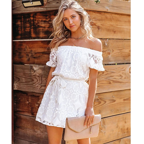 Embroidered Lace Off-the-Shoulder Dress