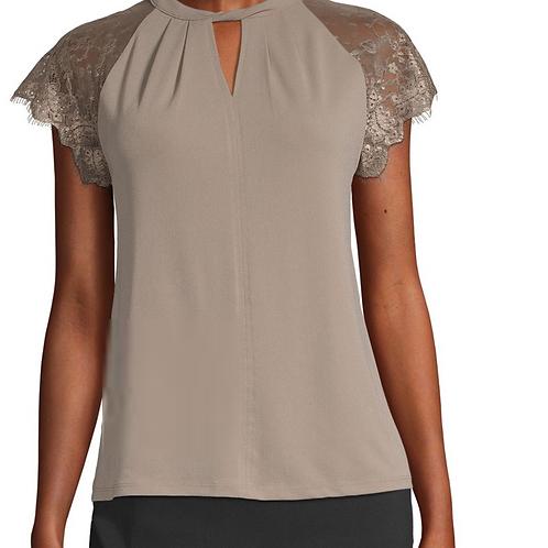 Worthington - Tall Lace Short Sleeve Top