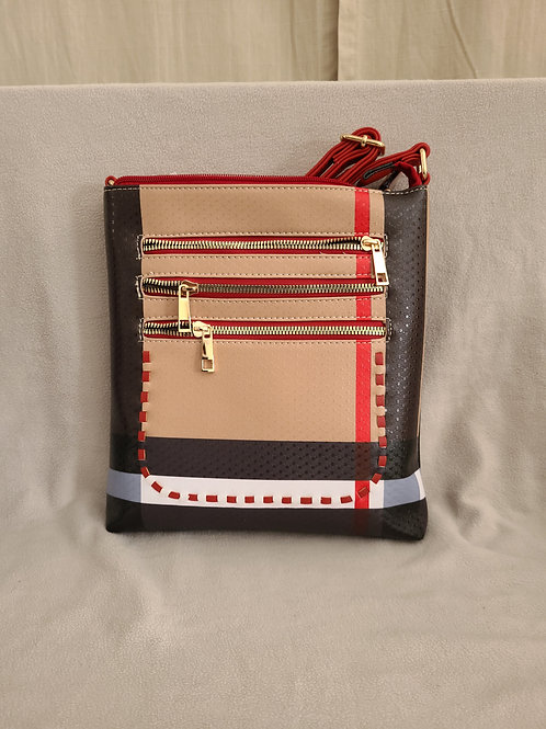 Handbag in Stripes with Zippered Red Flap