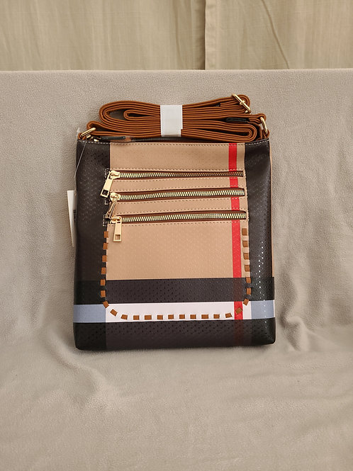 Handbag in Stripes with Zippered Tan Flap