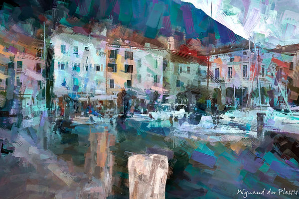 Luxury Fine Art Prints - HARBOUR SCENE AT LAKE GARDA