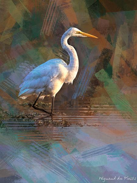 Bird photo to bird art printed on canvas - GREAT-WHITE EGRET