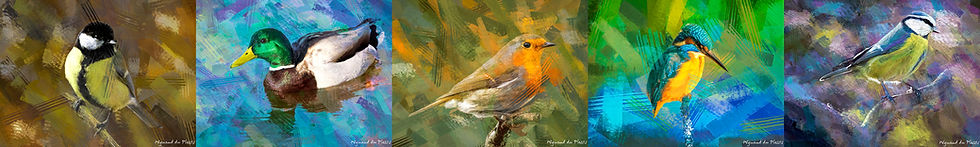digital paintings and digital bird paintings are printed on canvas