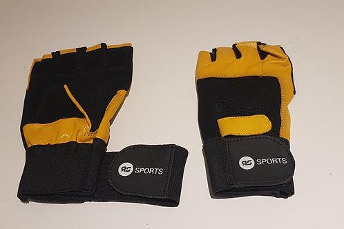 Fitness / sport handschoenen leer binnen en buitenkant geel