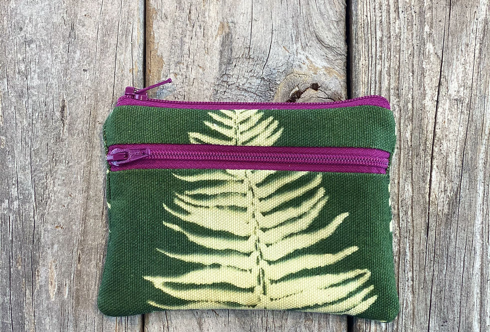 Small Double Zipper Pouch in Green with Sword Fern Design