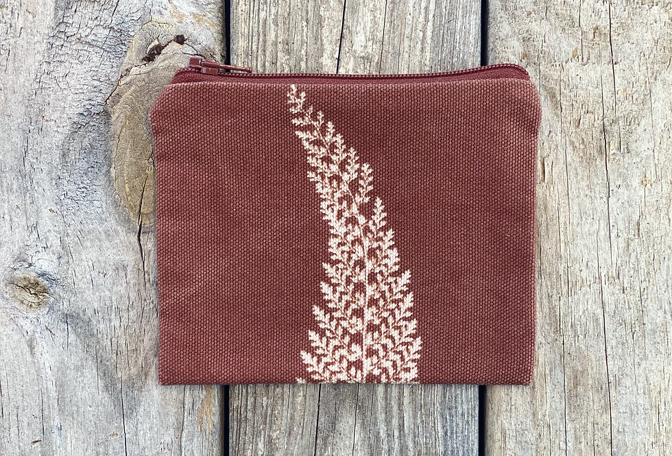 Small Zipper Pouch in Brown with Alaskan Fern Design