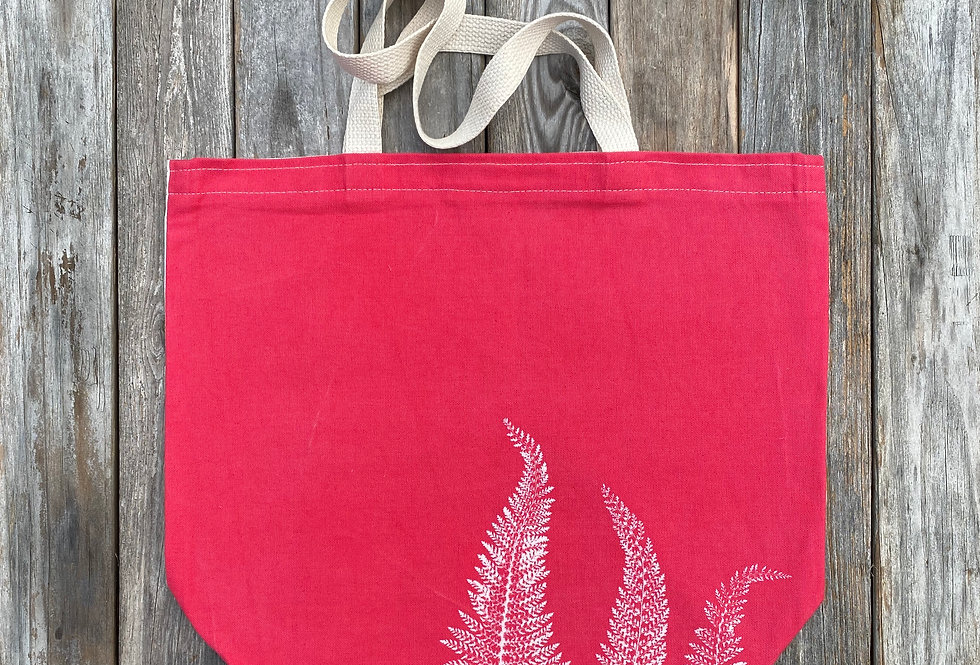 Tote Bag in Light Red with Alaskan Fern Design