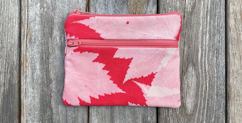 Large Double Zipper Pouch in Red with Salmonberry Leaf Design