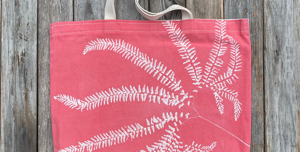Tote Bag in Salmon Pink with Western Maidenhair Fern Design