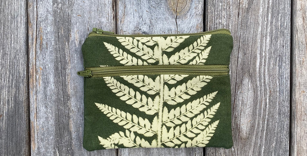 Large Double Zipper Pouch in Green with Shield Fern Design