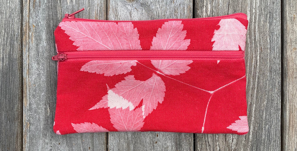 Long Double Zipper Pouch in Red with Salmonberry Leaf Design