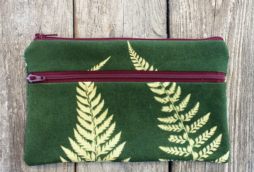 Long Double Zipper Pouch in Green with Shield Fern Design