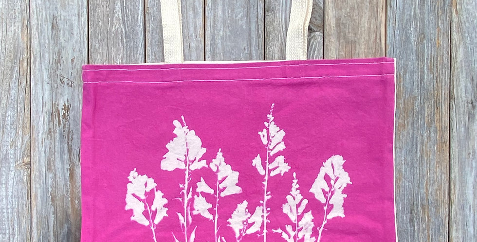 Tote Bag in Fuchsia Pink with Snapdragon Flower Design